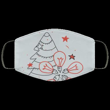 Christmas lights and christmas tree Face Mask