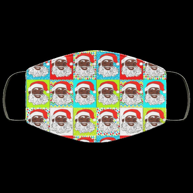 Black Santa Claus Cartoon Bright Colors Colorful Face Mask