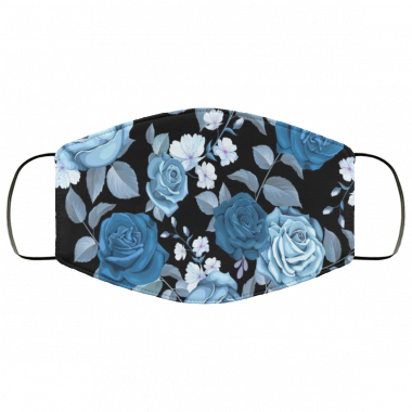 Classic blue seamless pattern with flowers Face Mask