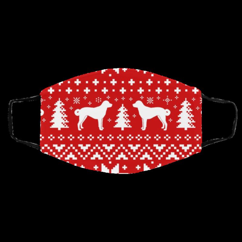 Anatolian Shepherd Dog Silhouettes Ugly Christmas Face Mask