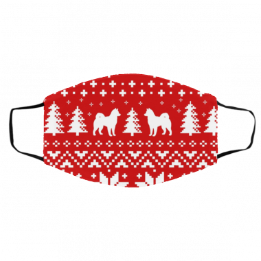 Alaskan Malamute Silhouettes Red and White Ugly Christmas Face Mask