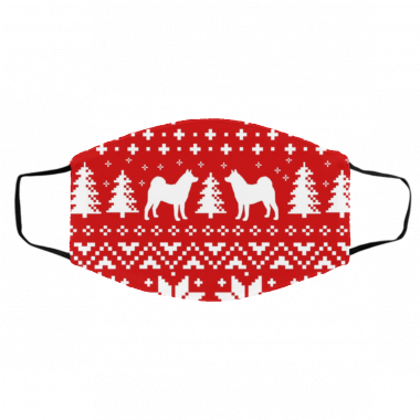 Akita Dog Silhouettes Red and White Ugly Christmas Face Mask