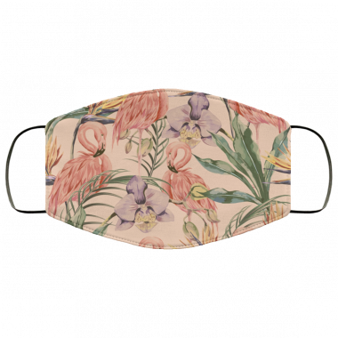 Tropical birds pink flamingo exotic flowers bird of paradise seamless pattern Face Mask