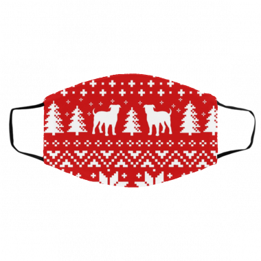 American Bulldog Silhouettes Red and White Ugly Christmas Face Mask