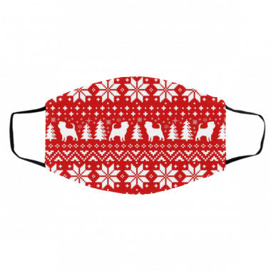 Affenpinscher Silhouettes Red and White Ugly Christmas face Mask