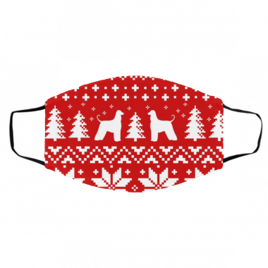 Afghan Hound Silhouettes Red and White Ugly Christmas Face Mask