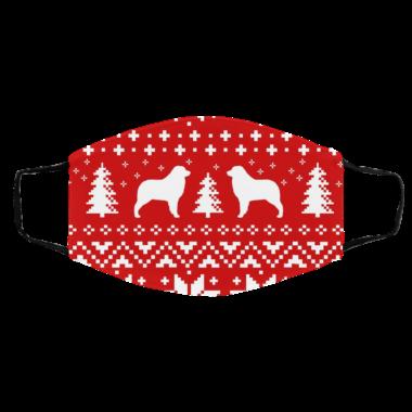 Australian Shepherd Silhouettes Ugly Christmas Face Mask