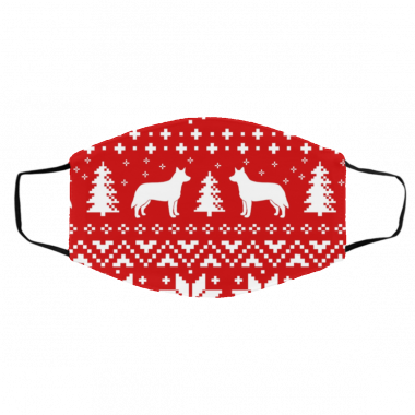 Australian Cattle Dog Silhouettes Ugly Christmas Face Mask