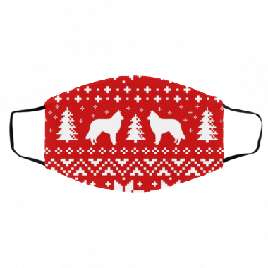 Belgian Tervuren Silhouettes Red and White Ugly Christmas Face Mask