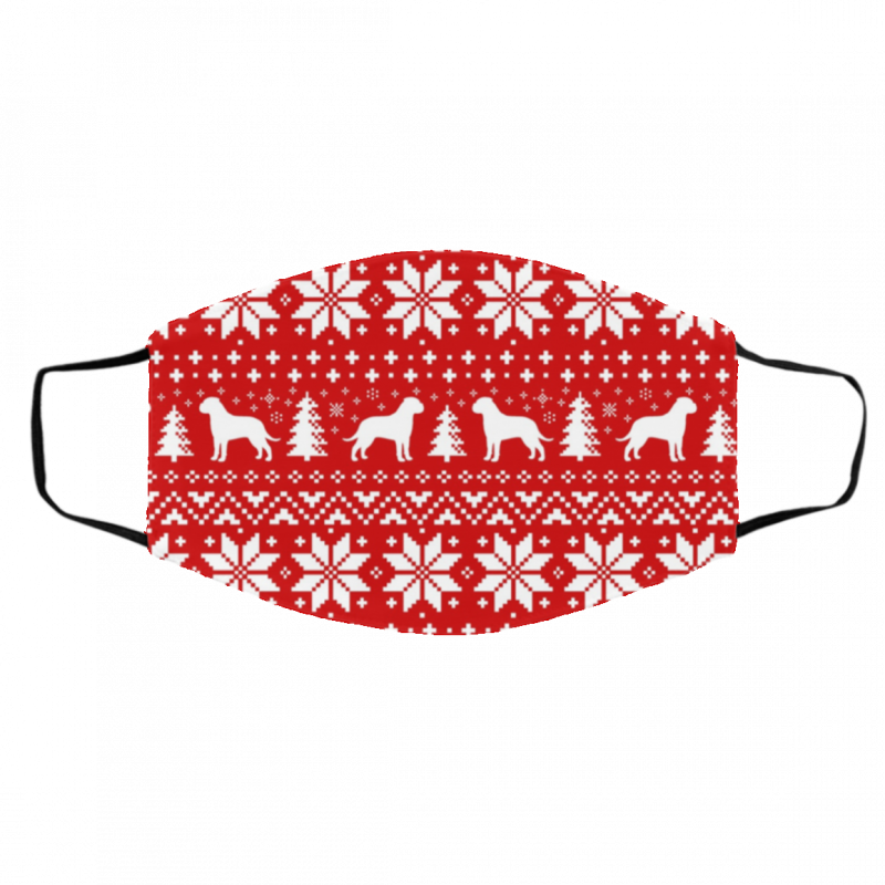 Bullmastiff Silhouettes Red and White Ugly Christmas Face Mask