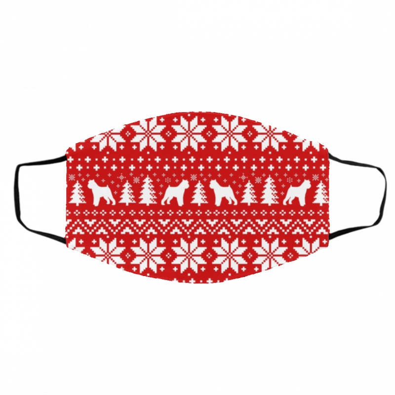 Brussels Griffon Dog Silhouettes Ugly Christmas Face Mask