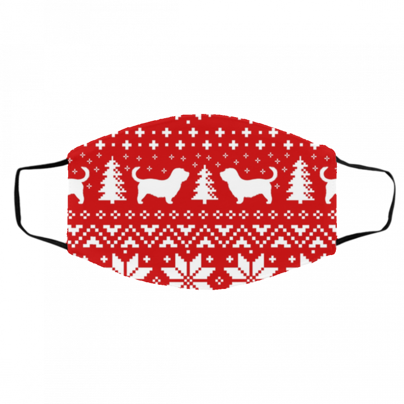 Glen of Imaal Terrier Silhouettes Red and White Ugly Christmas Face Mask