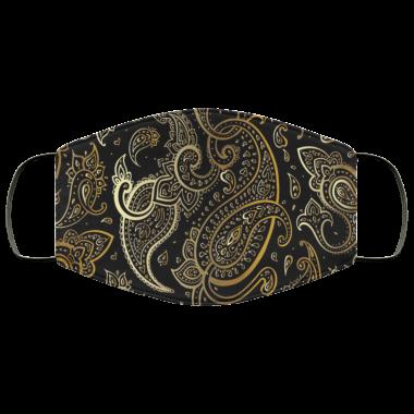 Paisley Beautiful golden Luxury Paisley Seamless Pattern Face Mask