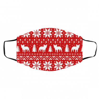 French Bulldog Silhouettes Ugly Christmas Face Mask