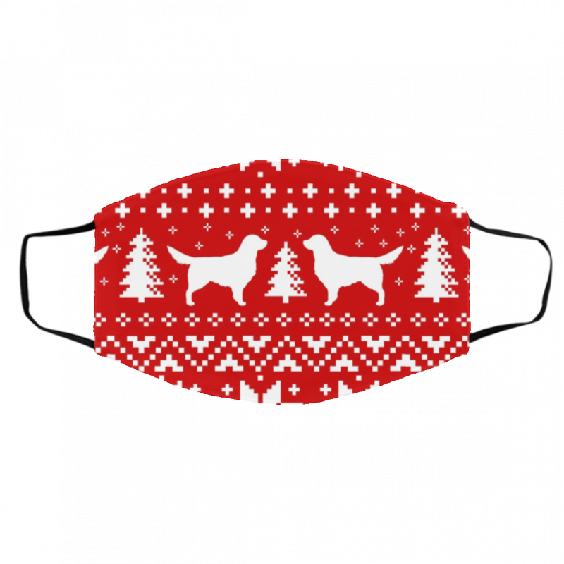 Golden Retriever Silhouettes Red and White Ugly Christmas Face Mask