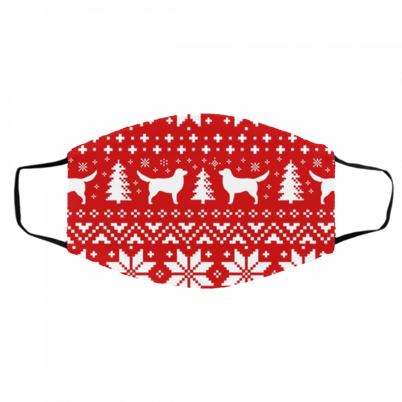 Nova Scotia Duck Toller Retrievers Red and White Ugly Christmas Face Mask