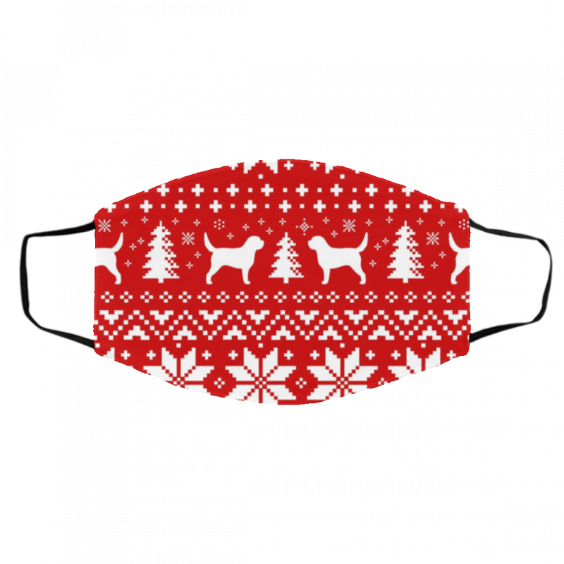Otterhound Silhouettes Red and White Ugly Christmas Face Mask