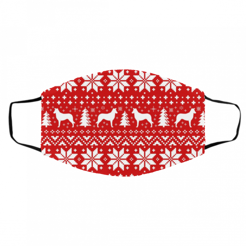 Smooth Collie Silhouettes Red and White Ugly Christmas Face Mask