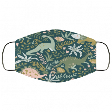 Hand drawn seamless pattern with dinosaurs and tropical leaves and flowers Face Mask
