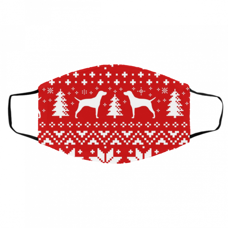 Vizsla Silhouettes Red and White Ugly Christmas Face Mask