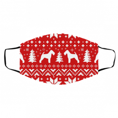 Welsh Terrier Silhouettes Red and White Ugly Christmas Face Mask