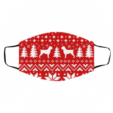 Wirehaired Pointing Griffon Silhouettes Ugly Christmas Face Mask