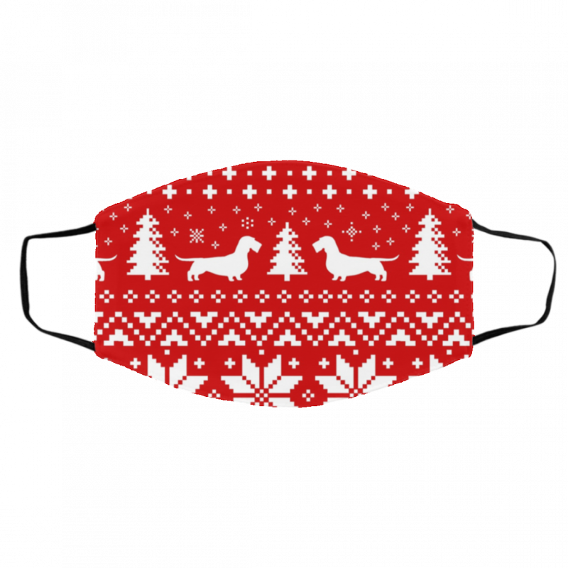 Wirehaired Dachshund Dog Silhouettes Ugly ChristmasFace Mask