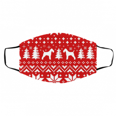 Wire Fox Terrier Silhouettes Ugly Christmas Face Mask