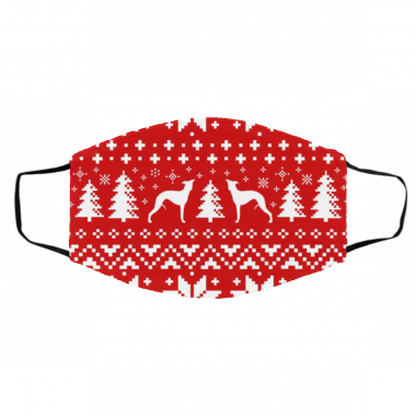 Whippet Silhouettes Red and White Ugly Christmas Face Mask