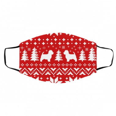 Westie Silhouettes Ugly Christmas West Highland White Terriers Face Mask