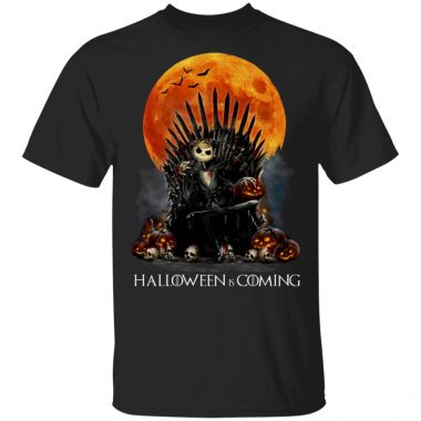 Jack Skellington Moon Red Halloween Is Coming T-shirt