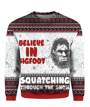 Believe In Bigfoot Squat Ching Through The Snow 3D Ugly Christmas Sweater Hoodie