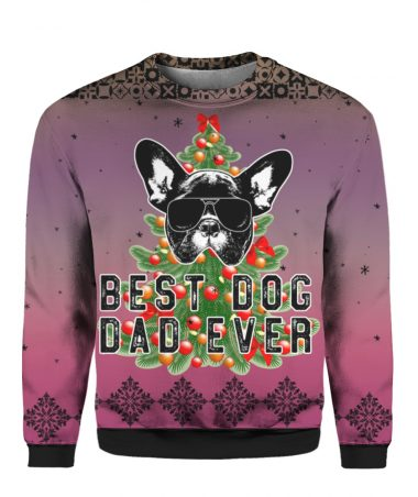 Best Dog Dad Ever 3D Ugly Christmas Sweater Hoodie