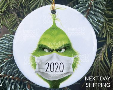 Grinch 2020 Face Mask Christmas Ornament