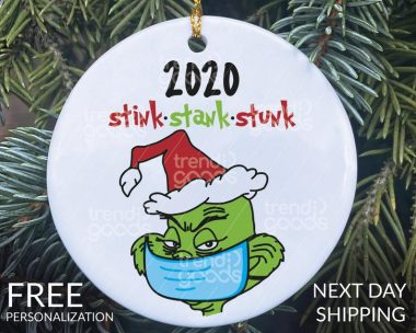 Grinch Face Mask Christmas Ornament