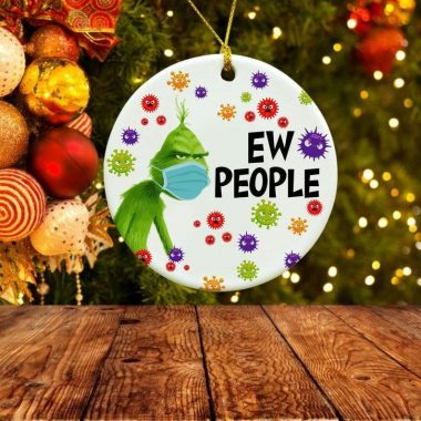 The Grinch Wears A Mask Ornament Corona Christmas Covid Ornament Xmas Ornaments Grinch 2020 Ew People Ornament