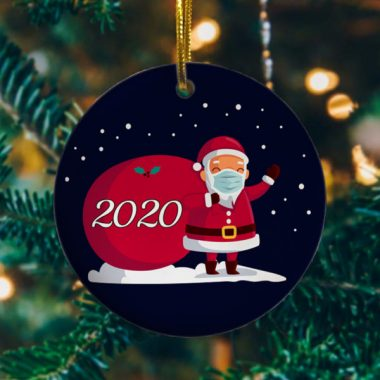 2020 Christmas Cute Santa Wear Mask With Gift Christmas Ornament Keepsake Christmas Ornament Funny Xmas Gift