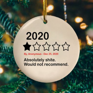 2020 Absolutely Shite Would Not Recommend Funny Quarantine Christmas Ornament Funny Xmas Gift