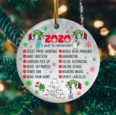 2020 A Year To Remember Green Character Quarantine Christmas Ornament