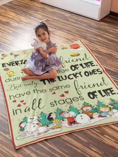 Charlie Brown Snoppy Friend Quotes Fleece Blanket
