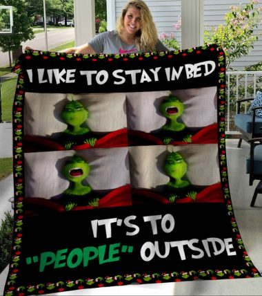 Christmas Grinch I Like To Stay In Bed Fleece Blanket