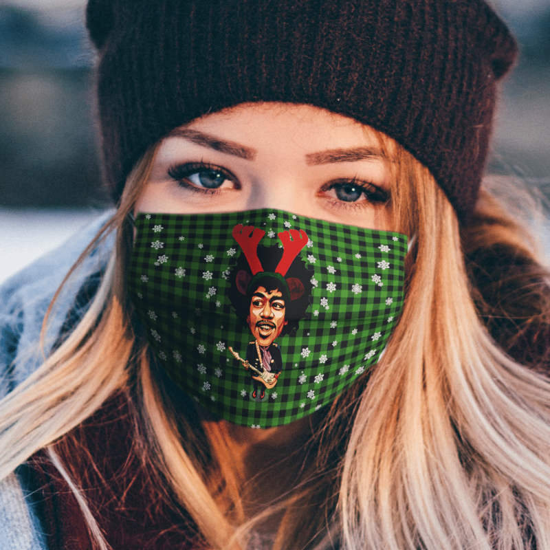 Jimi Hendrix Merry Christmas Face Mask Washable, Machine Washable, Waterproof, Breathable Mask Cover