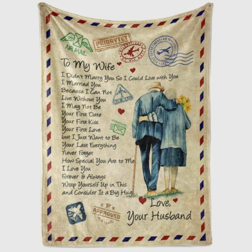 Fleece Blanket To my Wife I didn/'t marry you so I could live with you Quilt