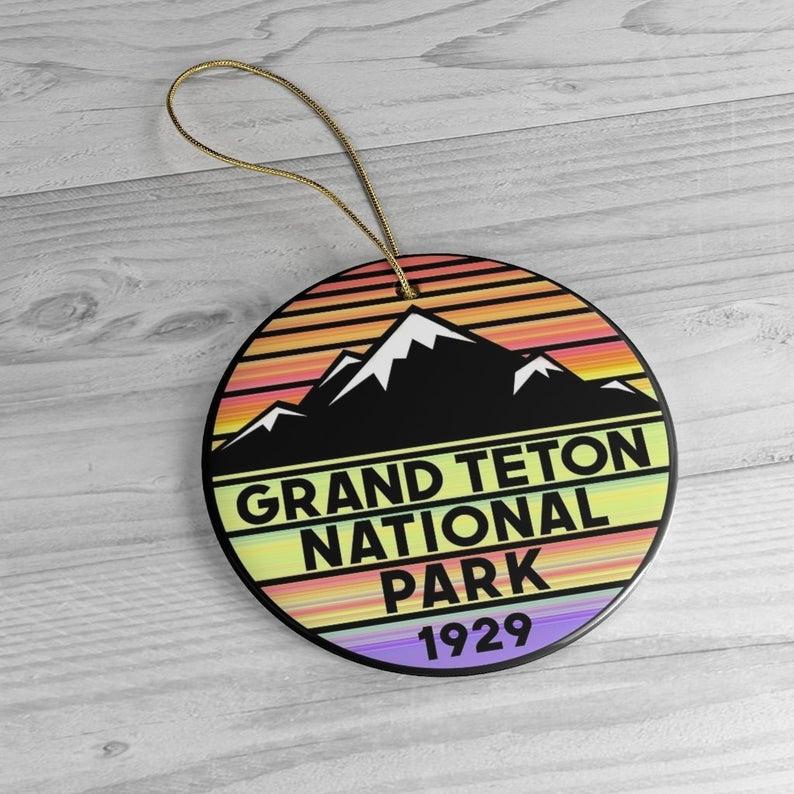 Vintage Grand Teton National Park Circle Ornament
