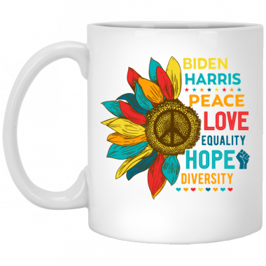 Vintage Retro Sunflower Biden Harris 2020 Peace Love Equality Hope Diversity Ceramic Coffee Mug