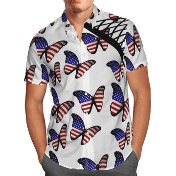 Amazing American Flag Butterflies Hawaiian Shirt, Beach Shorts