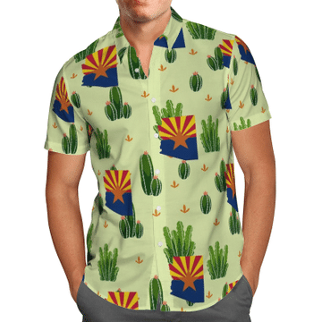 Arizona Cactus Hawaiian Shirt, Beach Shorts