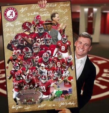 Alabama crimson tide team signed poster canvas for fans poster canvas