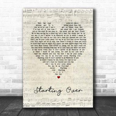 Chris Stapleton Starting Over Script Heart Song Lyric Music Poster Canvas