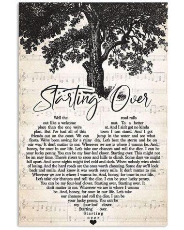 Chris stapleton starting over heart lyrics music chord old tree poster poster canvas